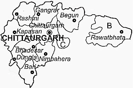 Chittorgarh District  Map . Surrounded by Bhilwara District ,Neemuch District ,Rajsamand District , .