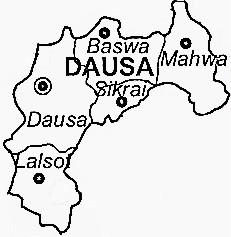 Dausa District  Map . Surrounded by Jaipur District ,Karauli District ,Alwar District , .