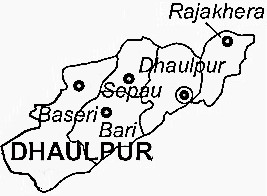 Dholpur District  Map . Surrounded by Morena District ,Agra District ,Gwalior District , .