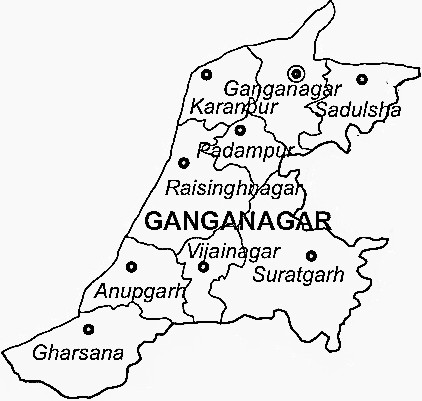 Ganganagar District  Map . Surrounded by Hanumangarh District ,Muktsar District ,Bathinda District , .