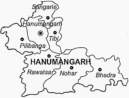 Hanumangarh District  Map . Surrounded by Ganganagar District ,Sirsa District ,Bathinda District , .