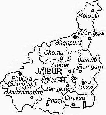 Jaipur District  Map . Surrounded by Dausa District ,Tonk District ,Sikar District , .