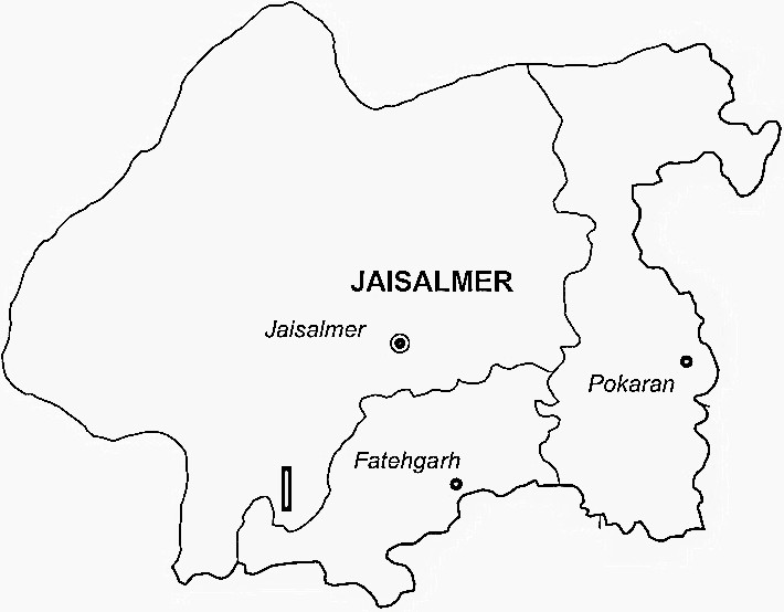 Jaisalmer District  Map . Surrounded by Barmer District ,Jodhpur District ,Jalore District , .
