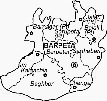 Barpeta District  Map . Surrounded by Goalpara District ,Chirang District ,Nalbari District , .