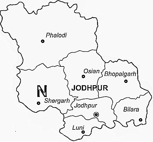 Jodhpur District  Map . Surrounded by Pali District ,Nagaur District ,Jalore District , .