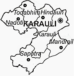 Karauli District  Map . Surrounded by Dausa District ,Sawai Madhopur District ,Dholpur District , .