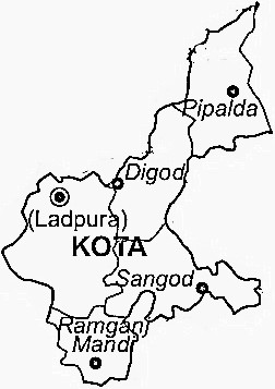 Kota District  Map . Surrounded by Bundi District ,Baran District ,Jhalawar District , .
