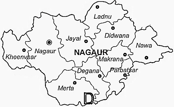 Nagaur District  Map . Surrounded by Bikaner District ,Ajmer District ,Jodhpur District , .