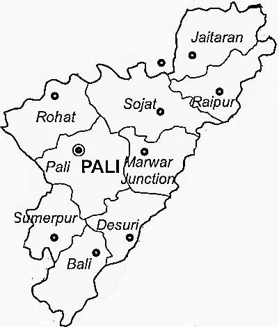 Pali District  Map . Surrounded by Jodhpur District ,Jalore District ,Rajsamand District , .
