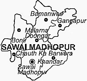 Sawai Madhopur District  Map . Surrounded by Sheopur District ,Tonk District ,Karauli District , .