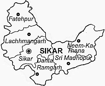 Sikar District  Map . Surrounded by Jhunjhunu District ,Churu District ,Jaipur District , .