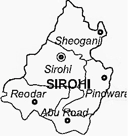 Sirohi District  Map . Surrounded by Jalore District ,Banas Kantha District ,Udaipur District , .