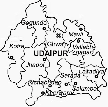 Udaipur District  Map . Surrounded by Rajsamand District ,Dungarpur District ,Sirohi District , .