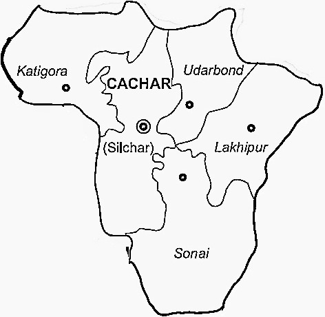 Cachar District  Map . Surrounded by Hailakandi District ,Karimganj District ,Kolasib District , .
