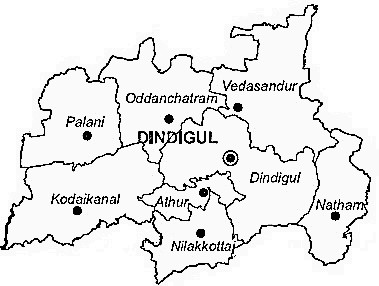 Dindigul District  Map . Surrounded by Madurai District ,Karur District ,Theni District , .