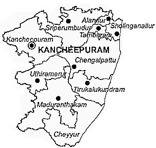 Kanchipuram District  Map . Surrounded by Chennai District ,Thiruvallur District ,Vellore District , .