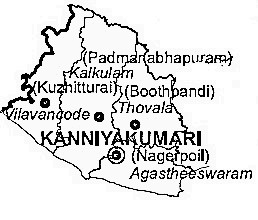 Kanniyakumari District  Map . Surrounded by Tirunelveli District ,Thiruvananthapuram District ,Tuticorin District , .