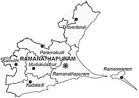 Ramanathapuram District  Map . Surrounded by Sivaganga District ,Tuticorin District ,Virudhunagar District , .