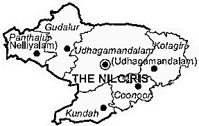 The Nilgiris District  Map . Surrounded by Coimbatore District ,Chamarajanagar District ,Palakkad District , .