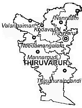 Thiruvarur District  Map . Surrounded by Nagapattinam District ,Karaikal District ,Thanjavur District , .