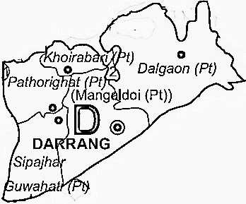 Darrang District  Map . Surrounded by Marigaon District ,Udalguri District ,Baksa District , .
