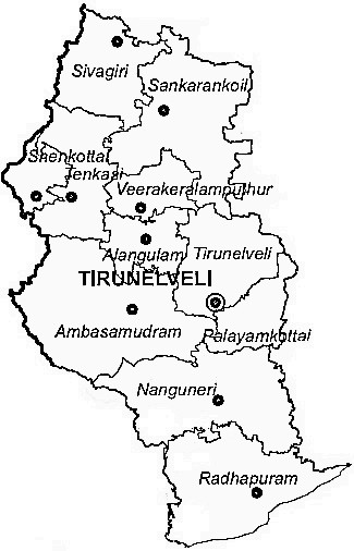 Tirunelveli District  Map . Surrounded by Tuticorin District ,Kanniyakumari District ,Thiruvananthapuram District , .