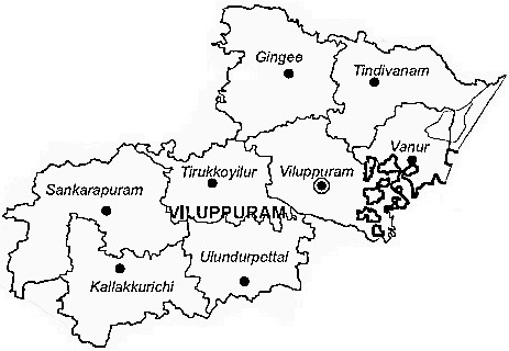 Villupuram District  Map . Surrounded by Pondicherry District ,Cuddalore District ,Tiruvannamalai District , .