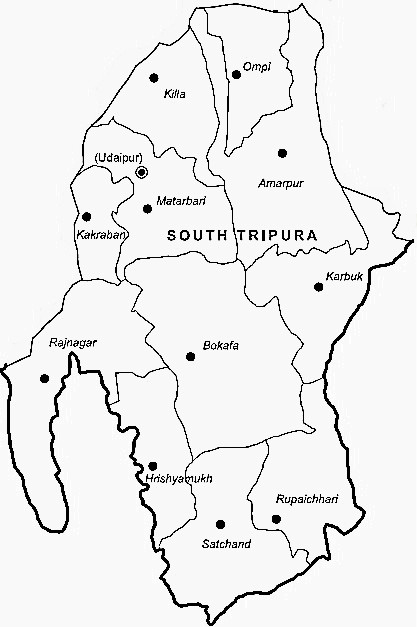 South Tripura District  Map . Surrounded by West Tripura District ,Dhalai District ,North Tripura District , .
