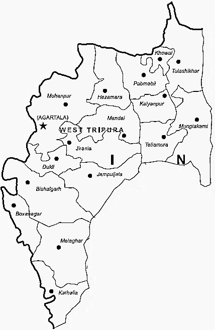 West Tripura District  Map . Surrounded by South Tripura District ,Dhalai District ,North Tripura District , .