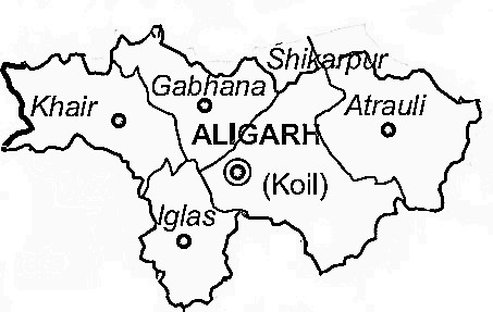 Aligarh District  Map . Surrounded by Mahamaya Nagar District ,Kanshiram Nagar District ,Mathura District , .