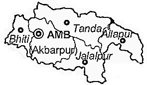 Ambedkar Nagar District  Map . Surrounded by Basti District ,Sultanpur District ,Faizabad District , .