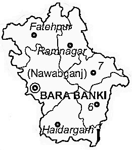 Barabanki District  Map . Surrounded by Barabanki District ,Sitapur District ,Rae Bareli District , .