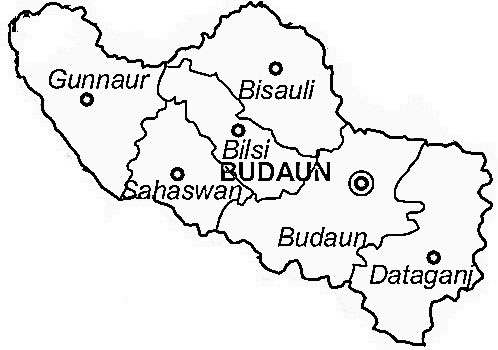 Budaun District  Map . Surrounded by Bareilly District ,Kanshiram Nagar District ,Etah District , .