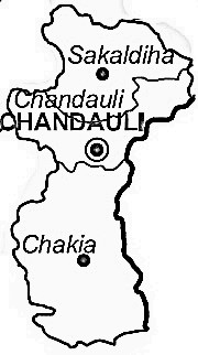Chandauli District  Map . Surrounded by Ghazipur District ,Varanasi District ,Kaimur (Bhabua) District , .