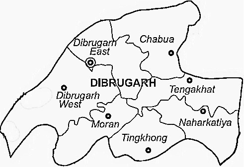 Dibrugarh District  Map . Surrounded by Dhemaji District ,Tinsukia District ,Sivasagar District , .