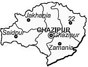 Ghazipur District  Map . Surrounded by Chandauli District ,Mau District ,Buxar District , .