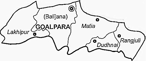 Goalpara District  Map . Surrounded by Bongaigaon District ,Barpeta District ,Kokrajhar District , .