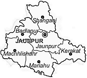Jaunpur District  Map . Surrounded by Sant Ravidas Nagar District ,Varanasi District ,Azamgarh District , .