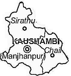Kaushambi District  Map . Surrounded by Allahabad District ,Chitrakoot District ,Pratapgarh District District , .