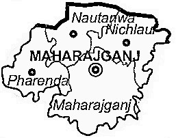 Maharajganj District  Map . Surrounded by Gorakhpur District ,Kushi Nagar District ,Siddharth Nagar District , .