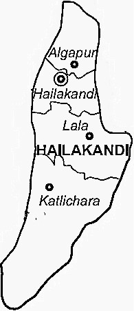 Hailakandi District  Map . Surrounded by Cachar District ,Karimganj District ,Kolasib District , .