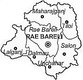 Rae Bareli District  Map . Surrounded by Fatehpur District ,Lucknow District ,Pratapgarh District District , .