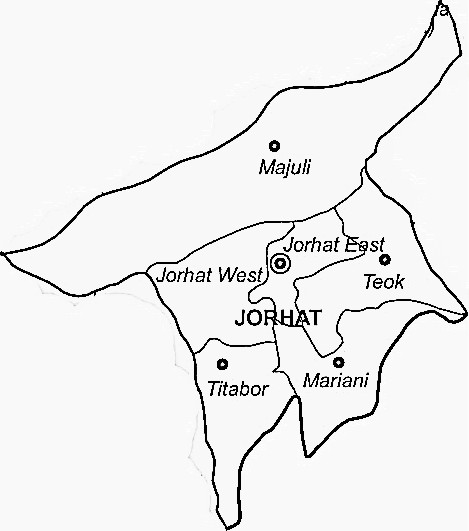 Jorhat District  Map . Surrounded by Golaghat District ,Sivasagar District ,Lakhimpur District , .