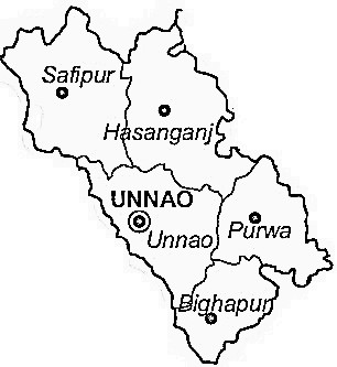 Unnao District  Map . Surrounded by Kanpur Nagar District ,Lucknow District ,Kanpur Dehat District , .