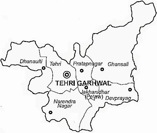 Tehri Garhwal District  Map . Surrounded by Uttar Kashi District ,Dehradun District ,Rudra Prayag District , .