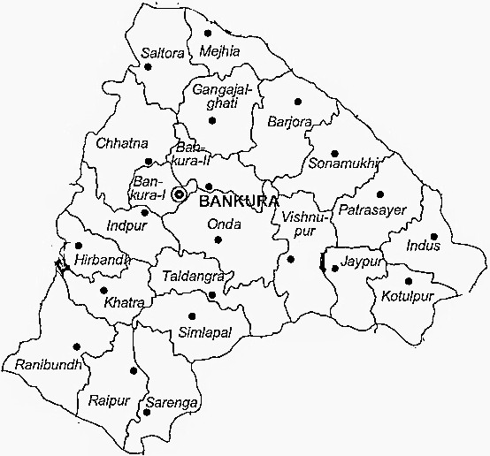 Bankura District  Map . Surrounded by Purulia District ,Bardhaman District ,Jamtara District , .