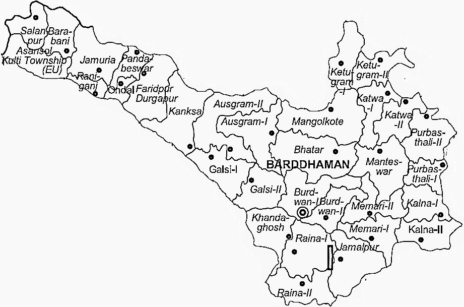 Bardhaman District  Map . Surrounded by Hooghly District ,Nadia District ,Birbhum District , .