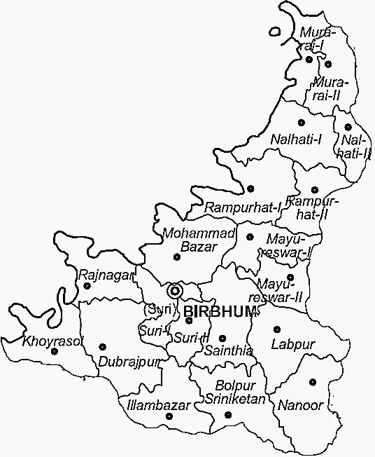 Birbhum District  Map . Surrounded by Dumka District ,Jamtara District ,Bardhaman District , .