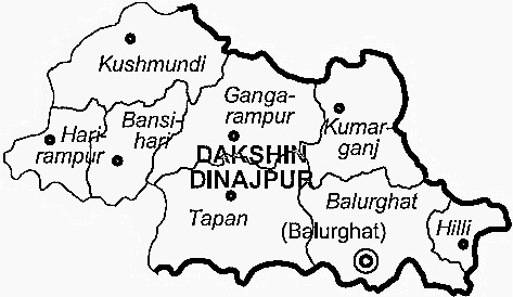 Dinajpur Dakshin District  Map . Surrounded by Maldah District ,Dinajpur Uttar District ,Pakur District , .