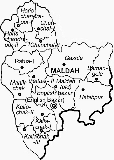 Maldah District  Map . Surrounded by Dinajpur Dakshin District ,Pakur District ,Sahebganj District , .